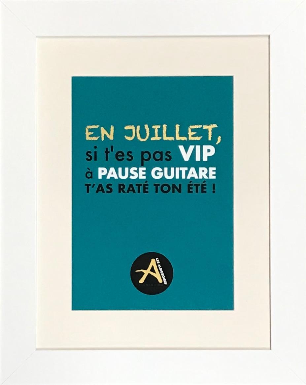 Pause Guitare Cadre Blanc 40 x 50 cm