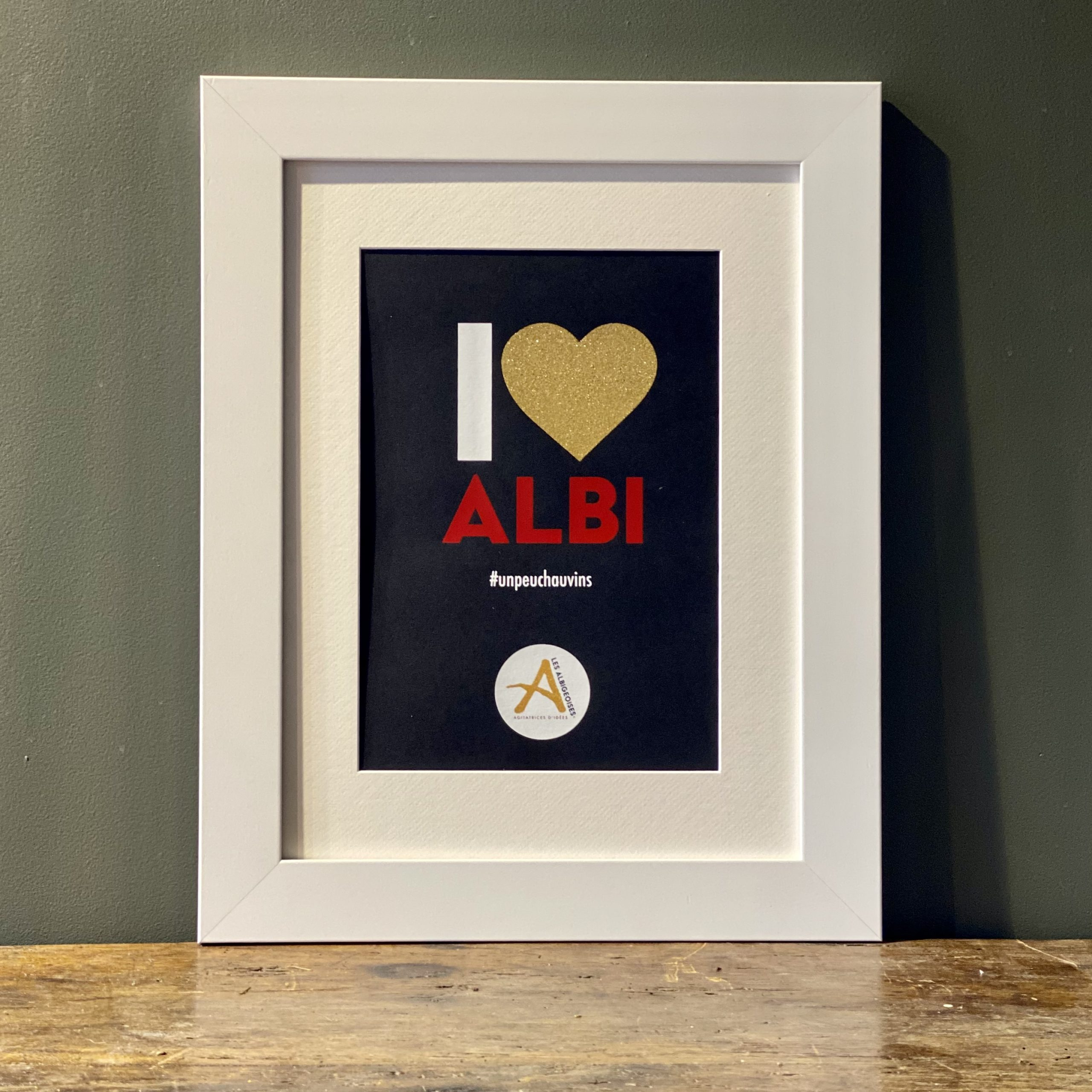 I love Albi <span>Noir</span> Cadre Blanc 40 x 50 cm